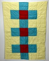 VTG Color Block Baby Quilt Crib Yellow blue Red Geometric Squares Bright ADORABL