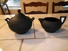 Wedgwood Black Jasper Shape 146 Neo-Classical Sugar Bowl and Creamer