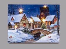 New 30x40cm Canvas Print LED Lights Christmas Decoration 'BRIDGE'