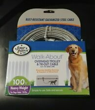FOUR PAWS 100 Foot Walk-About Overhead Trolley & Tie-Out Cable Up to 100 lb dogs
