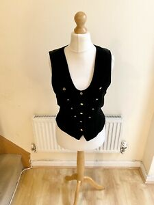 Vintage Niedieck Samt Black Velvet Waistcoat Gold Buttons Size Medium Victorian