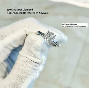 DIAMOND ENGAGEMENT RING ROUND SOLITAIRE VS2 F 1 CT 100% NATURAL 14K WHITE GOLD