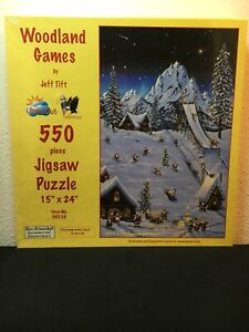 """Christmas Elves """"Woodland Games"""" by Jeff Tift 550 Piece Jigsaw Puzzle"""