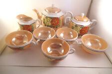 Vintage Made in Japan Tea Set Orange Lustre Teapot Cups Saucers Sugar Bowl