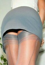NEW GIO Fully Fashioned Cuban Heel Seamed Stockings Pewter Grey 8.5 XS X Small