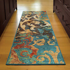 "2x8 (2'3"" x 8') Runner Contemporary Modern Abstract Floral Area Rug"