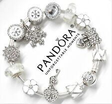 Authentic Pandora Silver Charm Bracelet White Love Snowflake Family Heart Charms