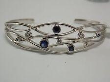 Birks Blue Sapphire & Diamonds Cuff Bangles on 18K White Gold