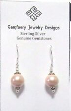 Sterling Silver Peach SHELL PEARL 10 mm Dangle Earrings #1411...Handmade USA