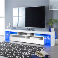 """63"""" TV Stand Unit Cabinet Console Table with LED Shelve 2 Drawer Furniture White"""