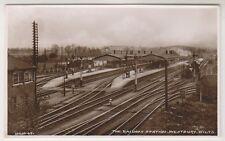 Wiltshire postcard - The Railway Station, Westbury - RP