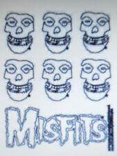 "Misfits Skull & Logo 7 Clear Mini Outline Sticker Set On 4 3/4""x5 3/4"" Sheet New"