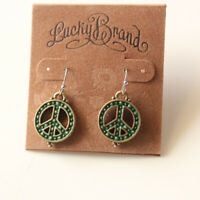 New Lucky Brand Peace Sign Drop Dangle Earrings Gift Vintage Women Party Jewelry