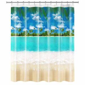 BEACH PEVA Vinyl Shower Curtain 70x71 Tropical Palm Trees Ocean NEW