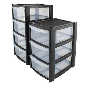 Plastic Storage Drawers Tower Unit Desktop Home Bathroom School Stationary Files