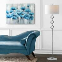 Blue Wall Art 100% Hand-Painted Abstract Flower Oil Painting for Living Room