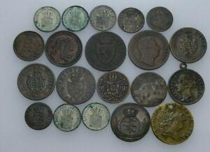 Künker: Europa, Kleinmünzenlot, 20 Stück, u.a. Kreuzer, Pfennig, siehe Fotos