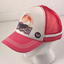 Roxy foam trucker hat cap pink and white with stripes surf skate beach hbx23
