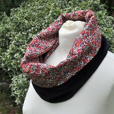 Cowl/Snood/neck warmer in Liberty tana lawn Betsy Ann red flowers & navy velvet