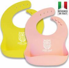 Bavaglini Silicone Impermeabili con Tasca Raccogli Pappa Bavaglie per Bambini