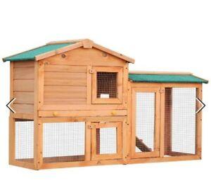 ^ PawHut Rabbit 2 Tier Fir Wood Small Animal Hutch w/ Ramp Brown 34:21