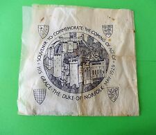 RARE1929 Souvenir Paper Napkin to commemorate The Duke of Norfolk Royal interest