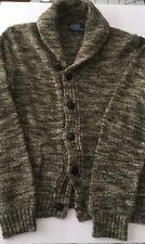 Polo Ralph Lauren Sweater Cardigan S Heathered Grey Olive Cream Shawl 100 Cotton