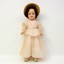 "Vtg Antique 19"" Composition Baby Mama Doll Sleep Eyes Open Mouth Hat/Pin Jointed"