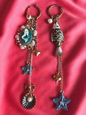 Betsey Johnson Sea Excursion Nautical Mermaid Glitter Cameo Mismatch Earrings