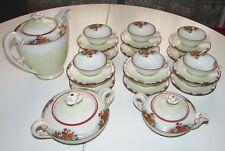PORCELAINE LIMOGES SERVICE A CAFE ART DECO 12 TASSES cafetiere sucrier cremier