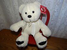 MS Teddy Bear.com Plush stuffed ivory bear with ivory ribbon bow NWT