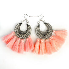 Charm Beads Long Tassel Dangle Earrings for Women Thread Fringe Drop Earrings