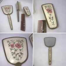 Regent Of London 1940s Brass & Embroidery 4 Piece Dressing Table Vanity Set Gift