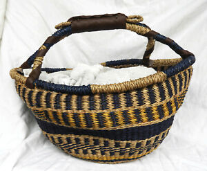 Hand Woven Large Bolga Basket from Vietnam - New - ASSORTED COLOURS