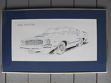 "1978 Ford Mustang Drawing Artist Elmer Shute 1992 25"" by 15"" Framed & Matted A"