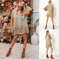Women Boho Ethnic Floral Long Sleeve Shift Mini Tunic Dress Ladies Beach Dresses
