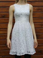 Mini vestido Vestido De Boda de encaje blanco, Xs Adolescente Chicas Bautizo Vestido sin mangas sedoso.