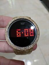 Iced Watch Bling Lab Diamond Gold Digital Touch Screen Rubber Band Rapper Cool