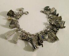 Heavy Vintage Estate Loaded Sterling World Travel Charm Bracelet
