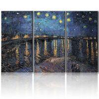 "Wall26 Canvas Print Wall Art Starry Night Over The Rhone Van Gogh - 36""x18"" x 3"