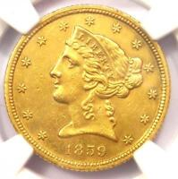1859-C Liberty Gold Half Eagle $5 - NGC AU Details - Rare Charlotte Gold Coin!