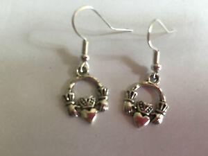 CLADDAGH CELTIC IRISH FRIENDSHIP Drop Earrings Tibetan Silver Great Gift Present