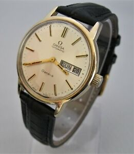 BEAUTY! 1973 OMEGA GENEVE Automatic Cal 1022, Gold Plated, Quickset Day & Date