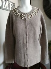 Chadwicks Womens Pearl Collar Button Down Cardigan Sweater Size S
