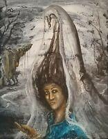 Enrique Agramonte Tomasa 14X11 Acrylic Canvas Cuban Art Original Painting 2015