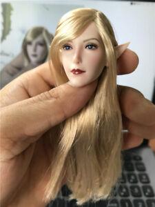 """1/6 Super Duck Fairy Elf Blonde Hair Head Sculpt Fit 12""""action Figure"""