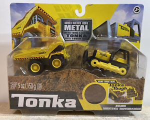 Tonka Tough Metal Movers Mighty Dump Truck & Bulldozer Dirt Included Brand New