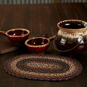 """VHC Brands Country 10""""x15"""" Placemat Red Beckham Textured Kitchen Table Decor"""