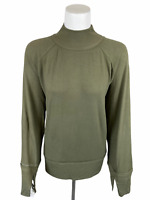 Peace Love World Women's Bree Bell Sleeve Comfy Knit Top Olive Green Large Size
