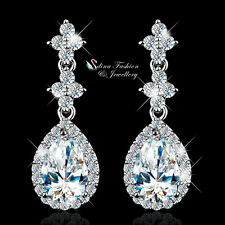 18K White Gold Plated Simulated Diamond Shiny Flower Teardrop Formal Earrings